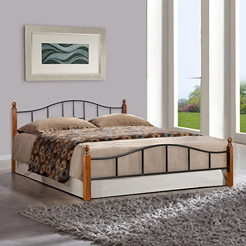 FurnitureKraft Kansas Metal Queen Size Double Bed with Wooden Leg