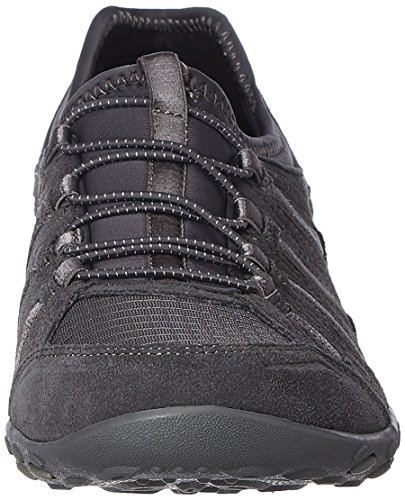 Skechers Sport Damen Atmen Leicht Big Bucks Fashion Sneaker Kohle Wildleder / Mesh / Grau Trim