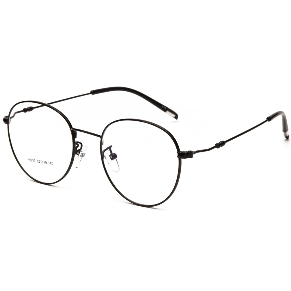 c84b59d5f8 Amazon.com  Langford Retro Round Unisex Full Metal Frame Eyewear Glasses  50mm Clear Lens With Case Cleaning Cloth 9827BK  Clothing