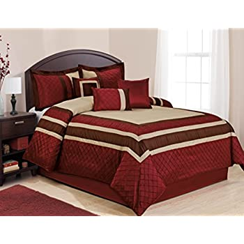 7 Piece Mya Red Bed In A Bag Comforter Sets Queen King Cal King Size King Home