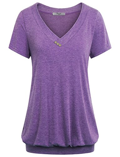Cestyle Wear to Work Tops for Women, Women's V Neck Short Sleeve Banded Hem Designer StylishT Shirt Tunic Tops Lavender Purple XX-Large