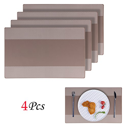 Placemats, EYGOO 4pcs Silicone Table Mats Reversible Pattern Place Mats for Dining Table (Dining Table European Design)