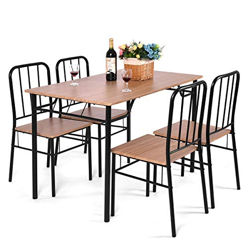 Giantex 5 Piece Dining Set Table and 4 Chairs Metal Wood Home Kitchen Modern - Dining Room Set Piece 5