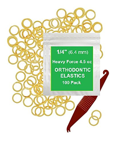 1/4 inch Orthodontic Elastic Rubber Bands 100 Pack Natural Heavy Force 4.5 oz Small Rubberbands make bows Dreadlocks Doll Hair Braids Horse Mane Fix Tooth Gap Top Knots FREE Elastic Placer for braces