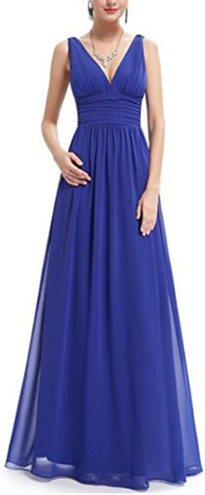 HANMAX Damen Elegant Chiffon Brautjungfer Kleider Abendkleid Lang