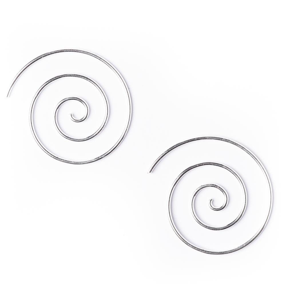81stgeneration Women's .925 Sterling Silver Spiral 25 mm Spiral 18 Gauge Wire Tribal Earrings 01iiTEO013