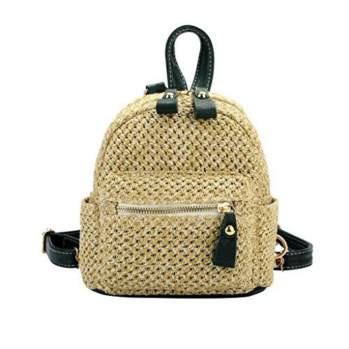 Clearance Women Girl Weave Bags Mini Backpack Travel Rucksack School Bag (Green) by Napoo-Bag