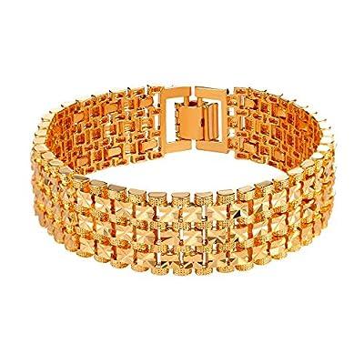 U7 Men 18K Gold Plated Link Bracelet Classic Curving Wrist Chain Solid Bangle by U7 Jewelry