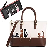 Cat Purses and Handbags for Women Cute Leather Wallet Satchel Tote Bag (Beige-Black)