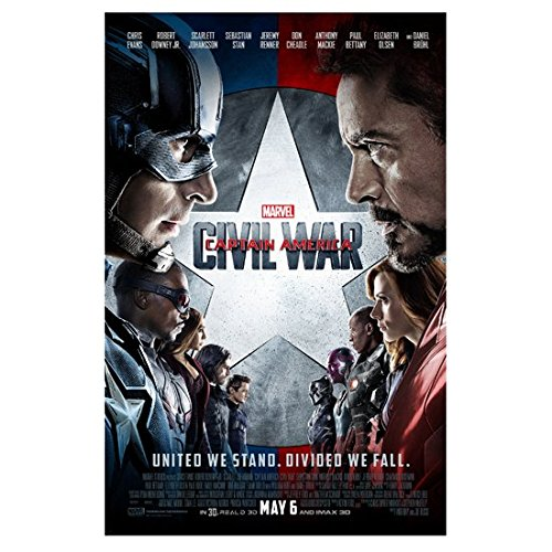Captain American: Civil War (2016) 11 inch by 17 inch lithograph w/white borders Downey, Evans & Cast Movie Poster...
