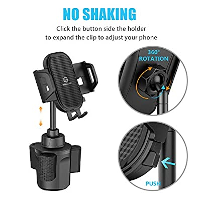 Cup Phone Holder for Car, WixGear Car Cup Holder Phone Mount Adjustable Automobile Cup Holder Smart Phone Cradle Car Mount