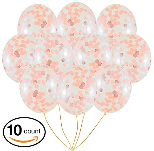 Rose Gold 18-inch Confetti Balloon Set | 10 Premium Quality Packs Elegant, Colorful Latex Party Balloons for Decorations, Weddings, Birthdays, Baby Showers, Valentine Day, Proposal, New Year Eve