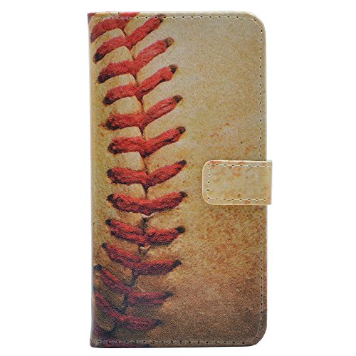 YHB iPhone Xs/iPhone X Case, Baseball Vintage Retro Pattern Leather Wallet Credit Card Holder Pouch Flip Stand Case Cover for 5.8 inch Apple iPhone Xs (2018) / iPhone X (2017)
