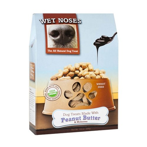 Wet Noses All Natural Dog Treats, Made in USA, 100% USDA Certified Organic, Non-GMO Project Verified, Peanut Butter, 14 oz box