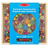 Melissa & Doug Bead Bouquet Deluxe Wooden Bead Set, Arts & Crafts, Handy Wooden Tray, 220 Beads and 8 Cords, 24.13 cm H x 33.02 cm W x 2.54 cm L