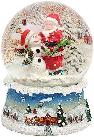 Bellisima palla di vetro con neve. Disegno: Babbo Natale con pupazzo di neve, circa 8,5 x 7 cm/ Ø 6,5 cm