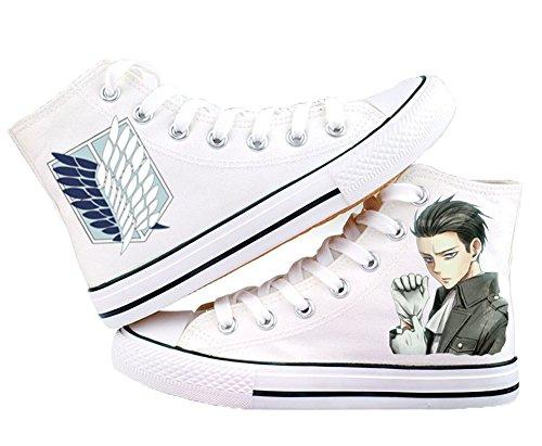 Attacco Su Titan Shingeki No Kyojin Levi Ackerman Scarpe Scarpe Sneakers Bianco / Nero Bianco 2