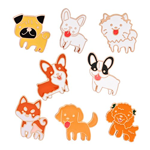 WINZIK Novelty Cartoon Brooch Pin Set 8pcs Cute Dog Puppy Animals Pattern Lapel Pins Badges Ornaments for Unisex Children Women Girls Clothes Backpacks Decor (Puppy Dog Pin)