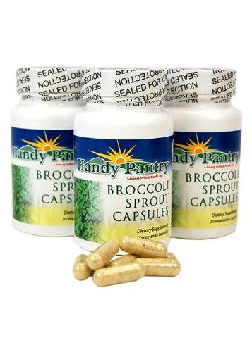3 бутылки брокколи прорастают капсулы ж / Сульфорафан - Премиум брокколи капуста Травяные добавки - 370 мг. 30 Граф за бутылку