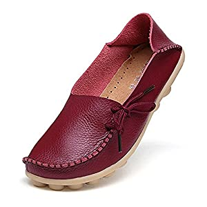 Amaxuan Women's Leather Loafers Moccasins Wild Driving Casual Flats Oxfords Breathable Shoes