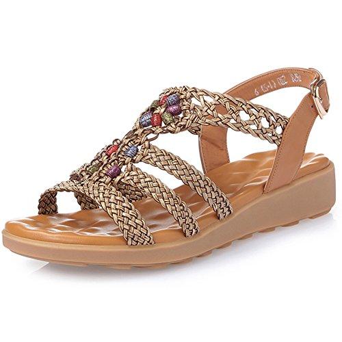 寓話一般的に言えばトラフXIAOLIN サマーサンダルフラットサンダルフラットボトムヒール学生靴レザーソフトボトムサンダルラージサイズシューズ(オプションサイズ) (色 : 02, サイズ さいず : EU39/UK6.5/CN40)