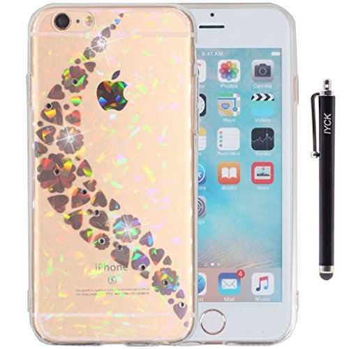 iPhone 6 Case, iPhone 6S Case, iYCK [Laser Rainbow] Crystal Diamond Bling Transparent Slim Fit Flexible Soft TPU Rubber Protective Case Cover for iPhone 6/6S 4.7inch - Heart Flower Road