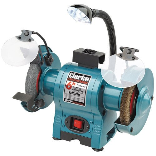 CLARKE BENCH GRINDER 6 INCH FINE AND WIRE 230VOLT WITH LAMPS