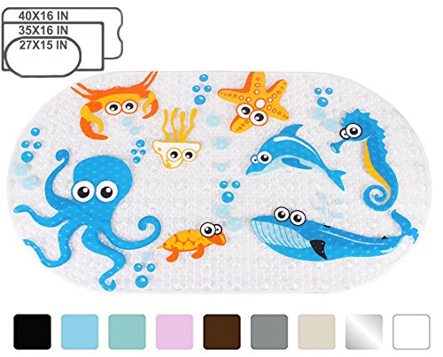 h tub and Shower Mat for Kids Anti Bacterial,Phthalate Free,Latex and Machine Washable Cartoon Pattern Mats Materials,(Baby 27x15 Inch, Ocean Zoo) ()