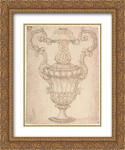 Giovanni Battista Foggini - 28x36 Gold Ornate Frame and Double Matted Museum Art Print - Design for a Two-Handled Urn with Acanthus, Shell, and Egg-and-Tongue Motif.