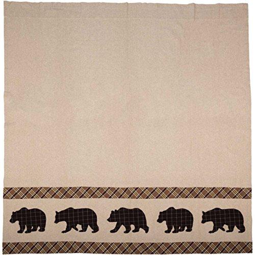 (VHC Brands Rustic & Lodge Bath-Wyatt Tan Bear Shower Curtain)
