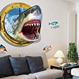 art shark - 3D Submarine World under sea Unique Decor Removable Wall Art Sticker Decal Home Kid Room Decor and Wall Decor (shark)