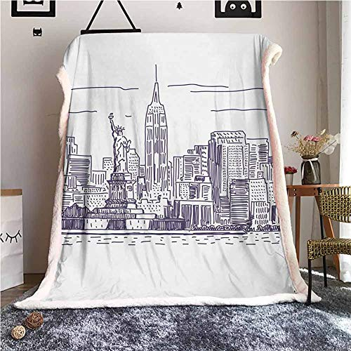Cranekey New York Sherpa Throw Blanket Sketchy Simple View of NYC Statue of Liberty Freedom Symbol Ellis Island Print for Outdoor Indoor Camping Gifts Purple White W59xL31 inches
