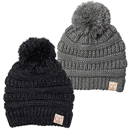 H-6847-2-21-816.6206 Kids Pom Beanie Bundle - 1 Grey, 1 Onyx Black #34 (2 Pack)