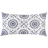 SLOW COW Embroidery Decorative Lumbar Throw Pillow Cover for Couch Sofa Bedroom Geometric Flower Pattern Cushion Cover 12 x 24 Inches Navy Blue