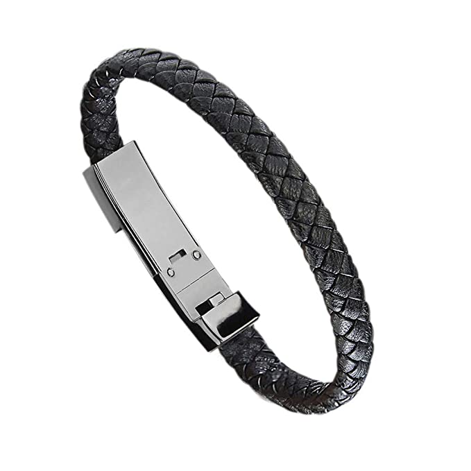 Miji Bracelet Quick Charge 3.0 Sport Wristband Micro USB/Type-C Pet Material Bracelet Link Charging Cable Braided Wrist Band USB Sync Data Charger Cord (20cm/22.5cm), Black, (Type-C, Length 20cm)