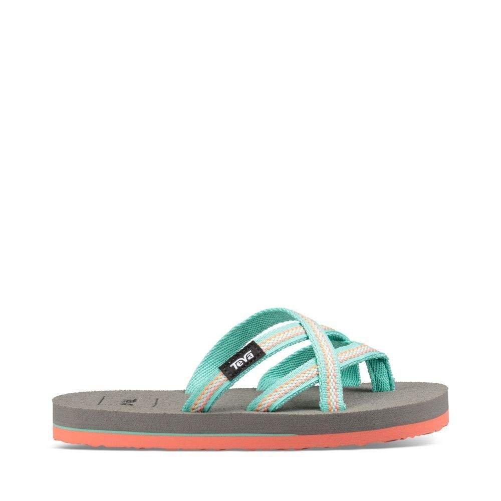 Teva Girls' K Olowahu Flip-Flop, Lindi Sea Glass/Coral, 11 M US Little Kid