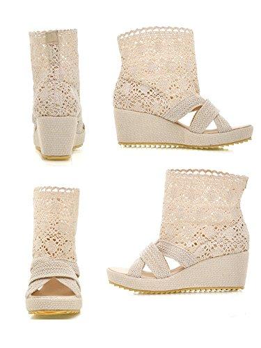Sandales la à bottines beige tricotées à sur bout pour talons talons plateforme enfilées femmes ouvert compensées Bdawin rRC6rnPqx