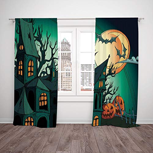 (SCOCICI Thermal Insulated Blackout Window Curtain [ Halloween Decorations,Haunted Medieval Cartoon Bats in Twilight Gothic Fiction Spooky Art,Orange Teal] Bedroom Living Room Dorm Kitchen)