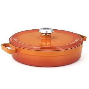 Essenso Enameled Cast Iron Braiser Casserole Shallow Dutch Oven Orange 3.5 qt
