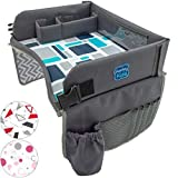 Kids Travel Play Tray by KENLEY KIDS | Car Seat Activity Tray | Waterproof, Food & Snack Tray with Tablet/iPad/Cup Holder | Back Seat Organizer | Padded & Portable (Blue/Gray)