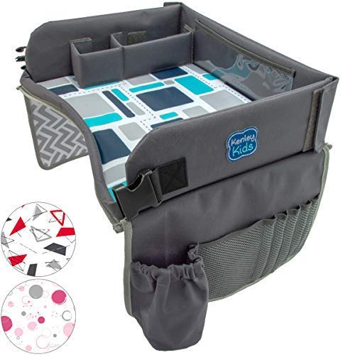 - Kenley Kids Travel Tray, Toddler Car Seat Lap Tray, 16.5 x 13.5 Inches, Blue