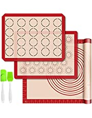 Silicone Baking Mats with Measurement - Set of 3 Sheet (1 Large 2 Half) Non-stick Pastry Mat for Rolling Dough Kitchen Kneading Mat for Making Cookies, Macaron, Bread, Pizza, Pie Reusable Oven Liner