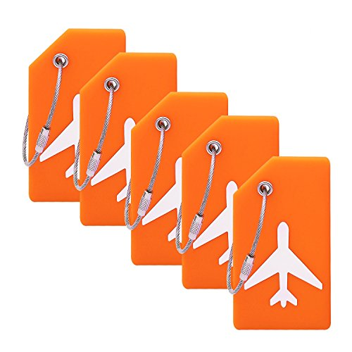 Silicone Luggage Tag With Name ID Card Perfect to Quickly Spot Luggage Suitcase (Plane 5Pcs Orange) ()