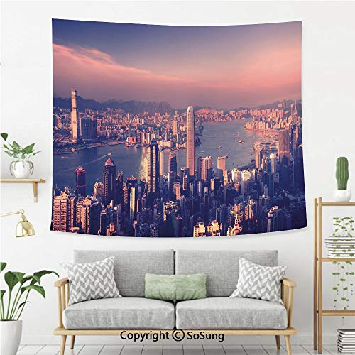 SoSung City Wall Tapestry,Dreamy View of Chinese City Hong Kong Urban Scene Concept Victoria Harbor,Bedroom Living Room Dorm Wall Hanging,80X60 Inches,Pale Pink Night Blue
