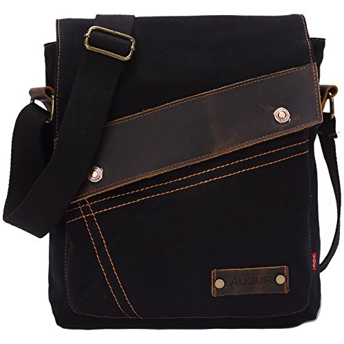 Aibag Messenger Bag, Vintage Small Canvas Shoulder Crossbody Purse (Black)