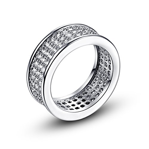 Empsoul 925 Sterling Silver Natural Novelty Plated Micro Pave White CZ Eternity Band Ring