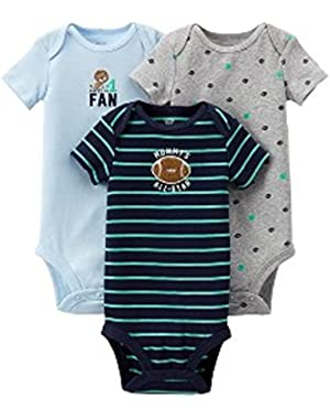 Baby Boy Auntie's My #1 Fan/Mommy's All-Star Football 3-Pack Bodysuits Blue