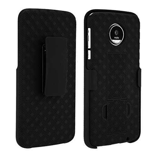 Motorola Moto Z Play Droid Case, Rome Tech OEM Protective Slim Cell Phone Case with Kickstand Clip Holster for Motorola Moto Z Play Droid - Black