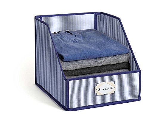 Zebra Striped Sheets - G.U.S. Premier Collapsible Clothing Storage Bins with Folding Front Panel - Blue Striped - Organize Sheets, Blankets, Towels, Wash Cloths, Sweaters and Other Closet Storage