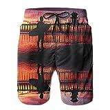 confirm vt California Sunset Surfer Summer Quick-Drying Board Short Swim-Trunk for Men